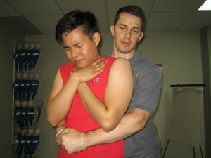 A person chokes when the airway is partially or entirely blocked and airflow to the lungs is condensed or cut off.